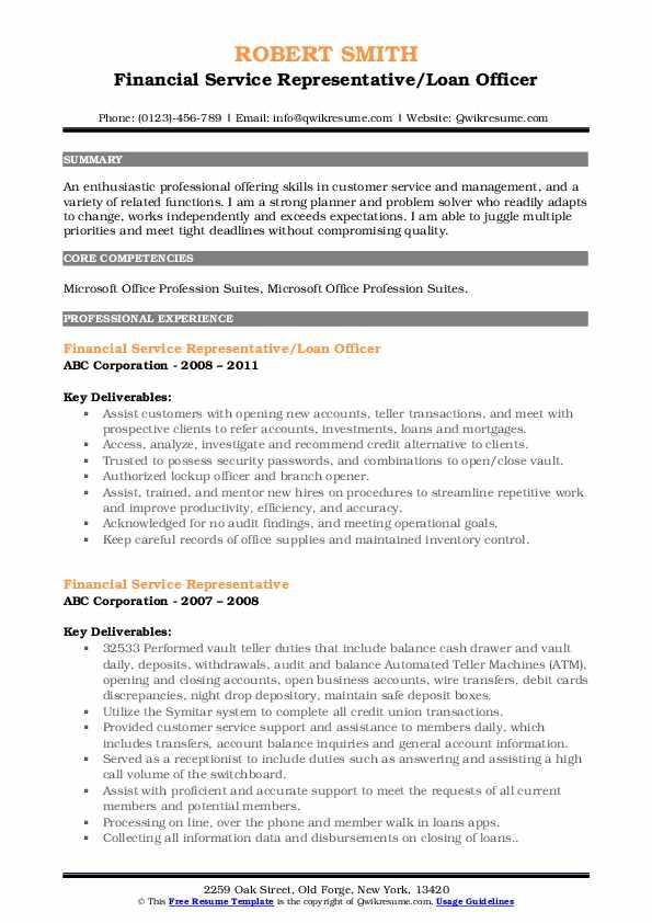 Financial Service Representative/Loan Officer Resume Format
