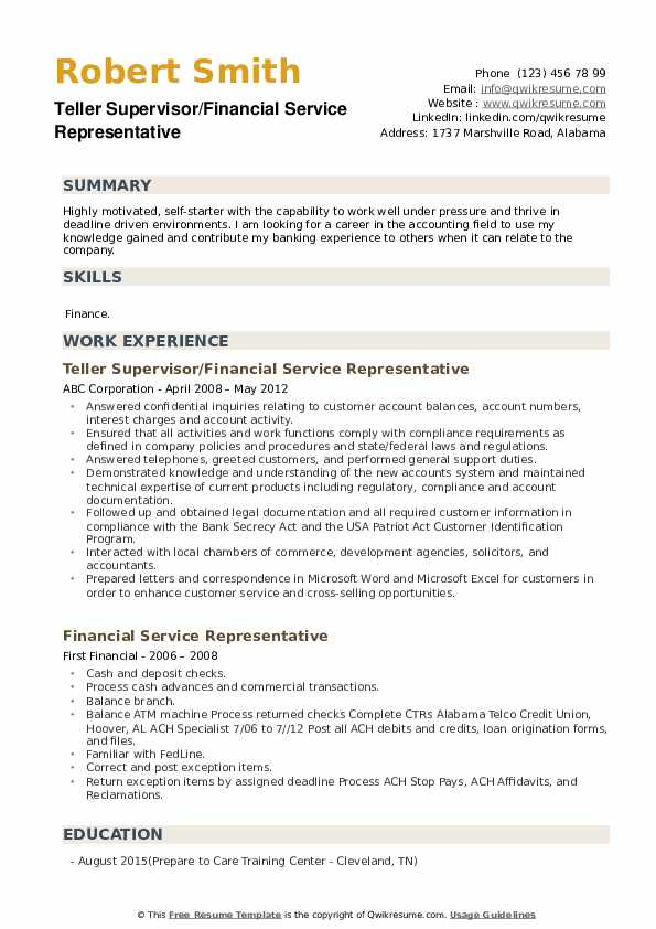Teller Supervisor/Financial Service Representative Resume Model