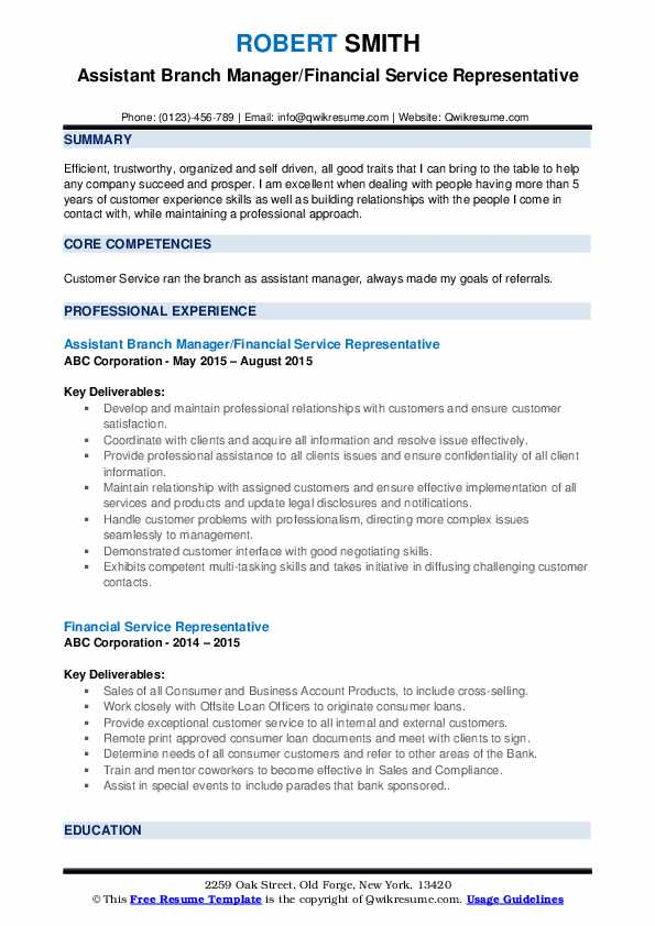 Assistant Branch Manager/Financial Service Representative Resume Example