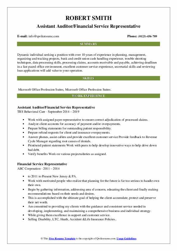 Assistant Auditor/Financial Service Representative Resume Sample