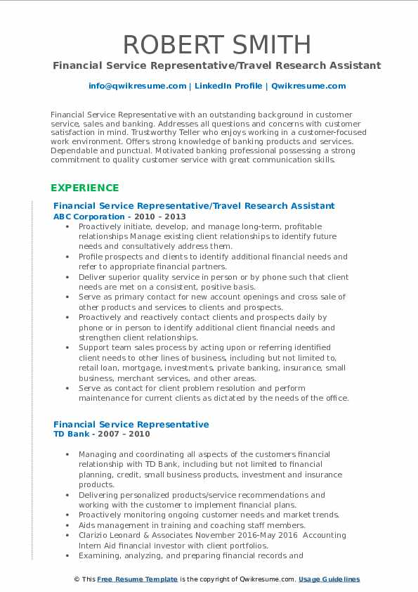 Financial Service Representative/Travel Research Assistant Resume Example