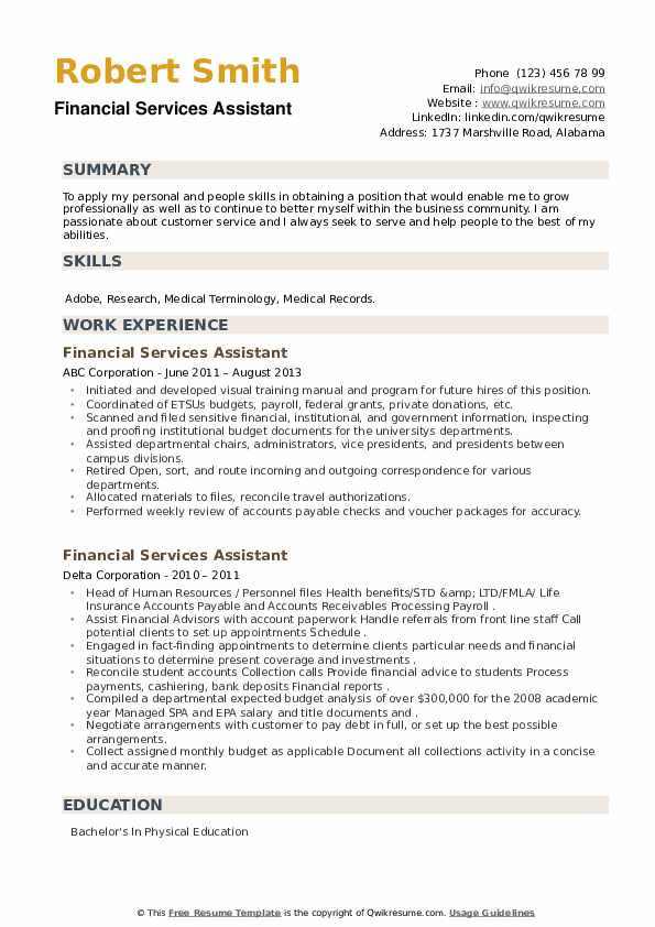 Financial Services Assistant Resume example