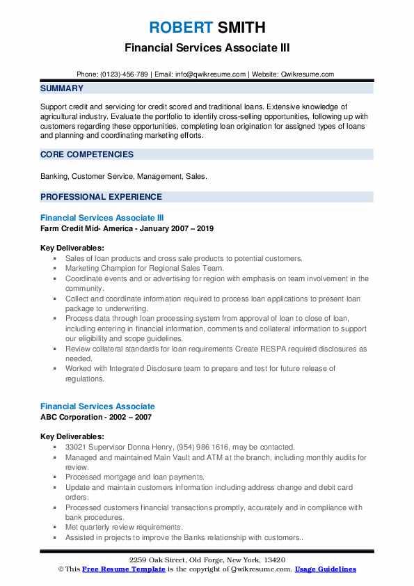 Financial Services Associate III Resume Format