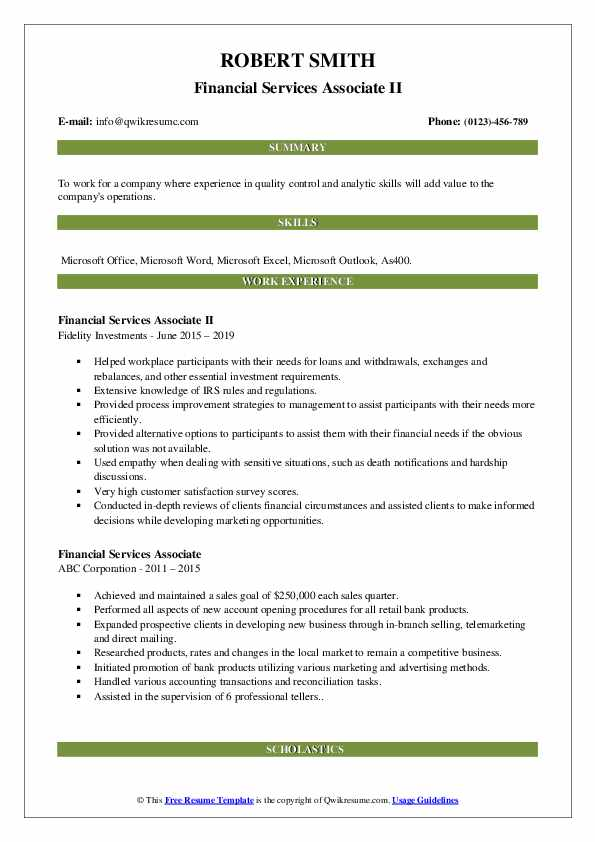 Financial Services Associate Resume Samples Qwikresume