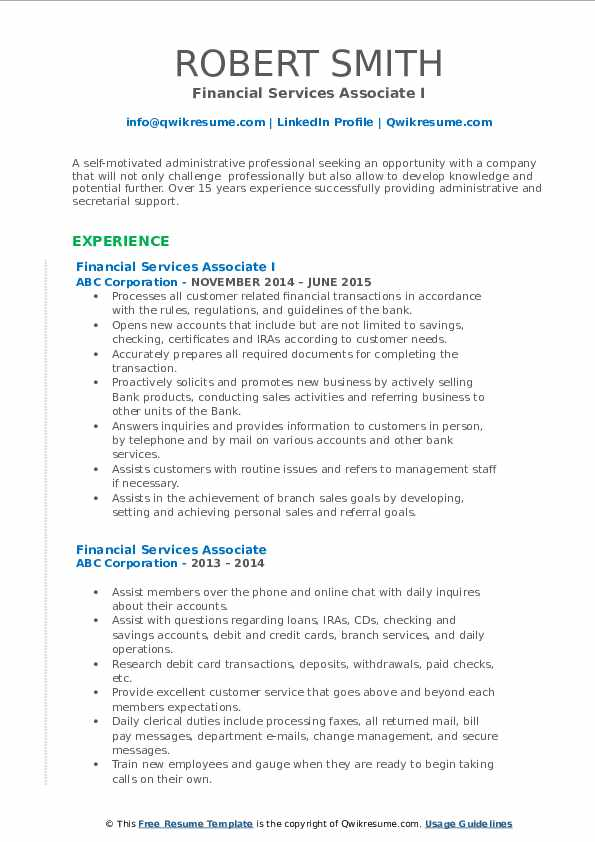 Financial Services Associate I Resume Template