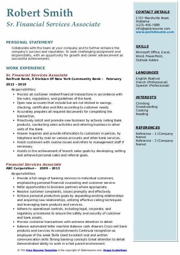 Sr. Financial Services Associate Resume Sample