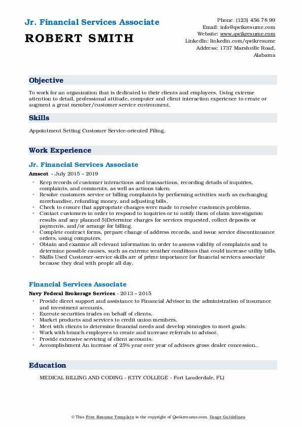 Jr. Financial Services Associate Resume Template
