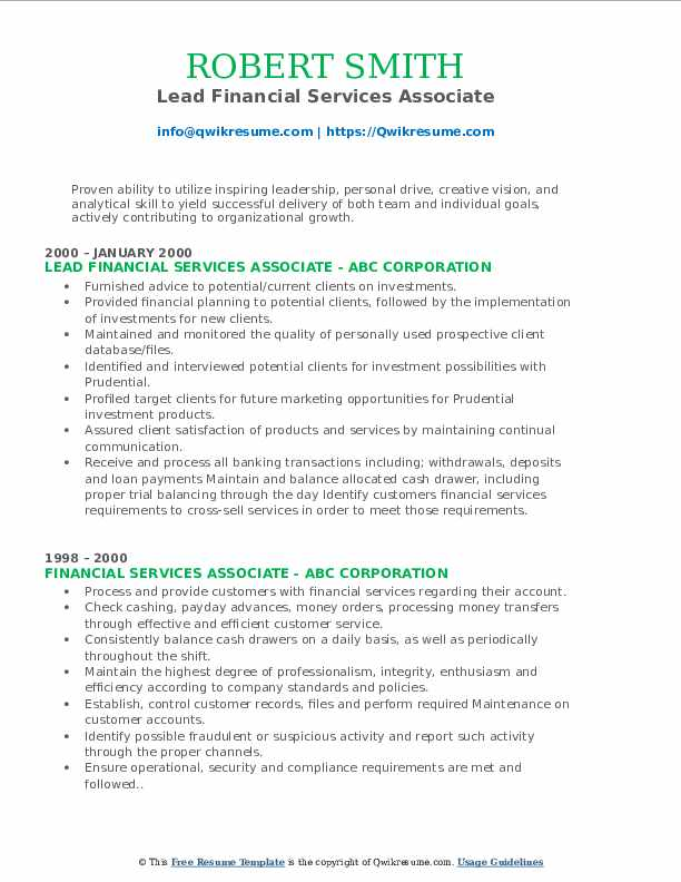 Lead Financial Services Associate Resume Model