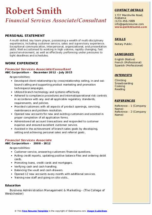 Financial Services Associate/Consultant Resume Example
