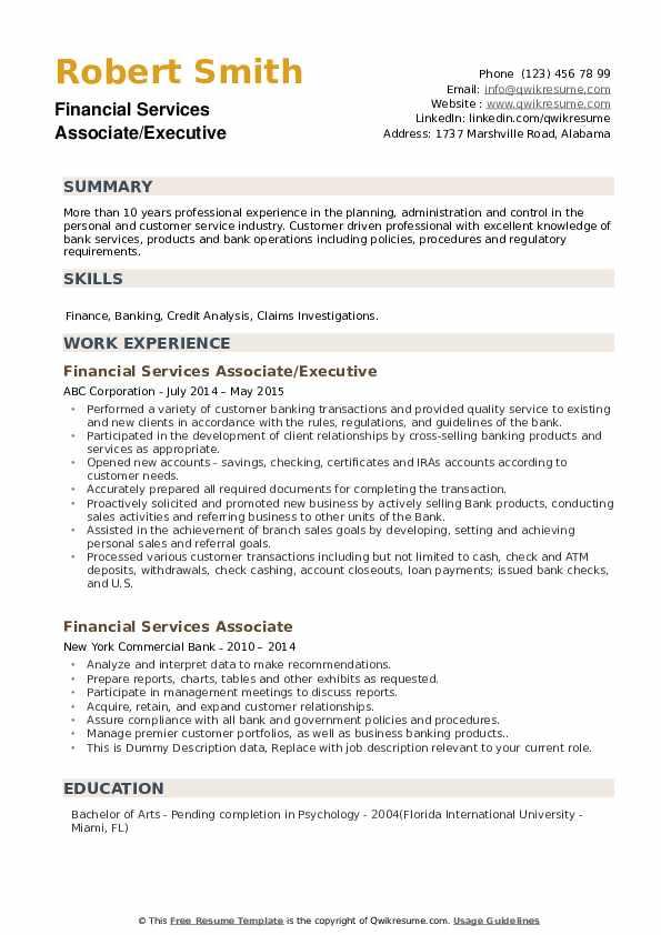 Financial Services Associate/Executive Resume Model