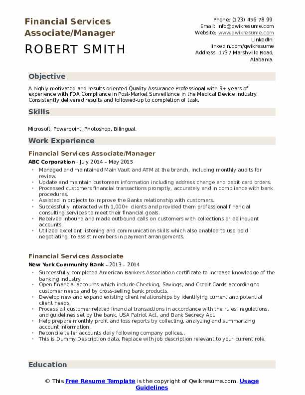 Financial Services Associate/Manager Resume Format