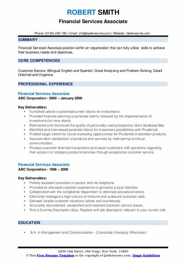 Financial Services Associate Resume example