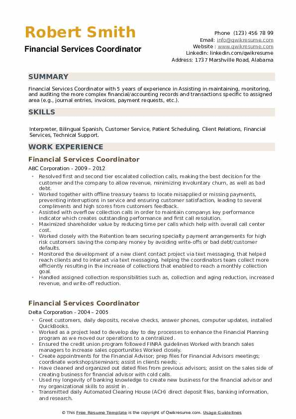 Financial Services Coordinator Resume example