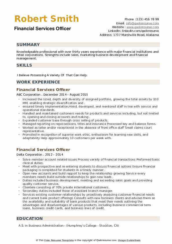 Financial Services Officer Resume example