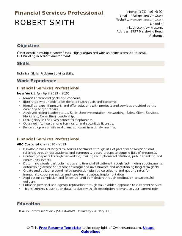 Financial Services Professional Resume example