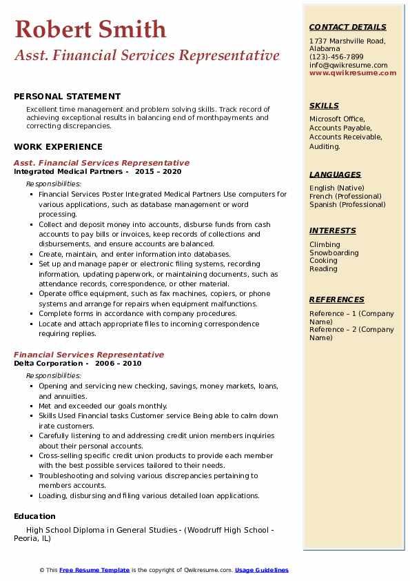 financial services representative resume samples  qwikresume