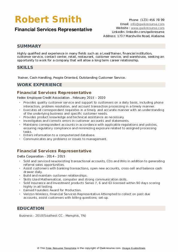 Financial Services Representative Resume example