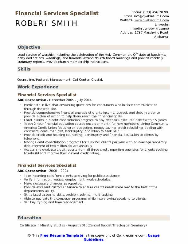 Financial Services Specialist Resume Template