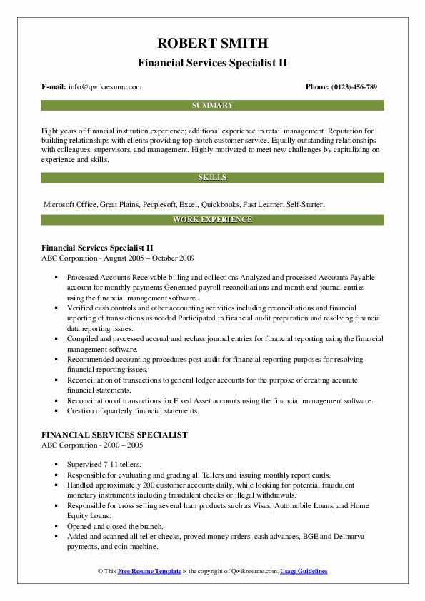 Financial Services Specialist II Resume Sample