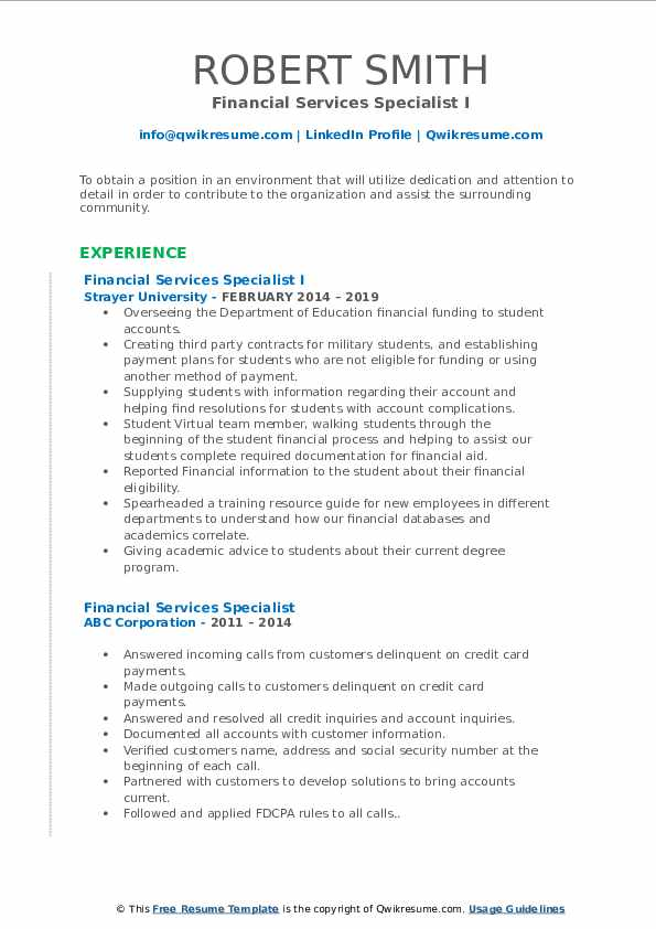 Financial Services Specialist I Resume Example