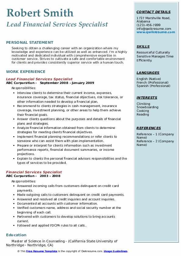 Lead Financial Services Specialist Resume Template