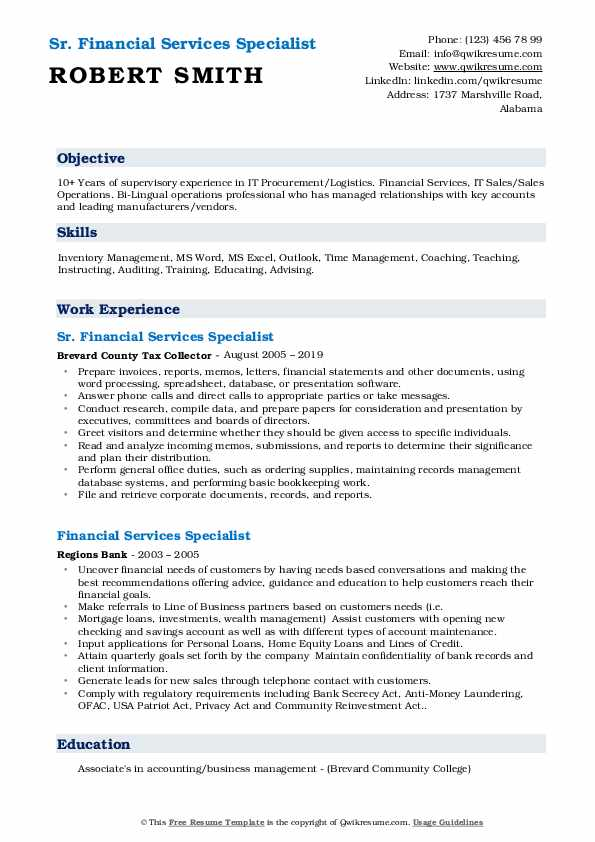 Sr. Financial Services Specialist Resume Template