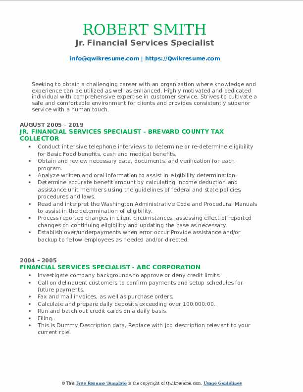 Jr. Financial Services Specialist Resume Template