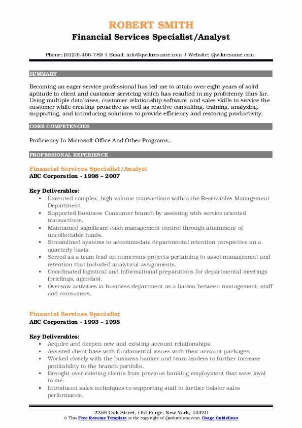 Financial Services Specialist/Analyst Resume Example