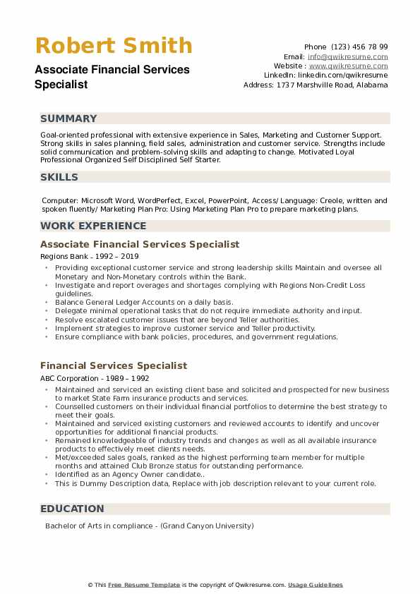 Associate Financial Services Specialist Resume Sample