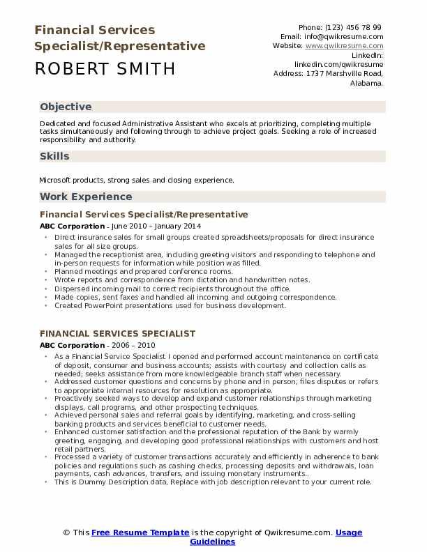 Financial Services Specialist/Representative Resume Format