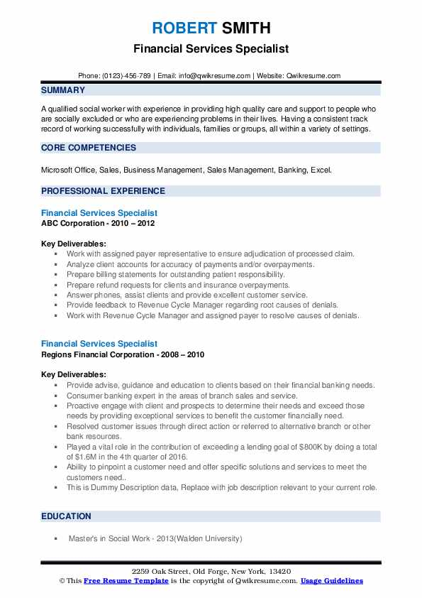 Financial Services Specialist Resume example
