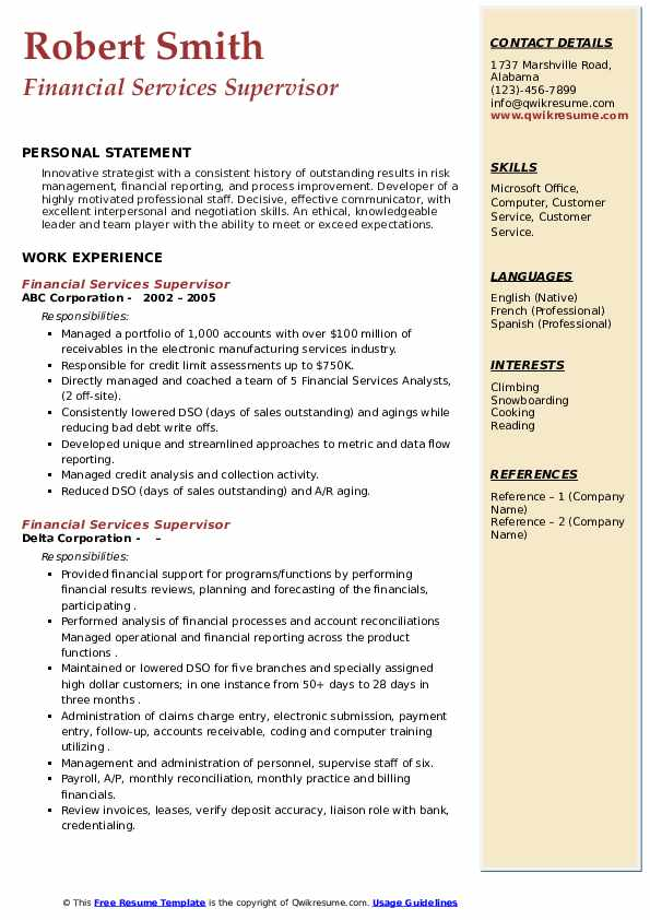 Financial Services Supervisor Resume example