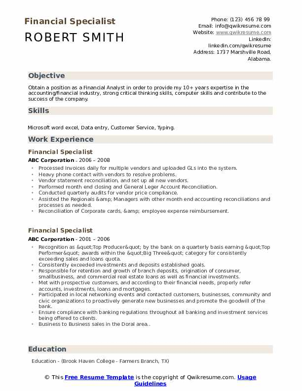 Financial Specialist Resume Example
