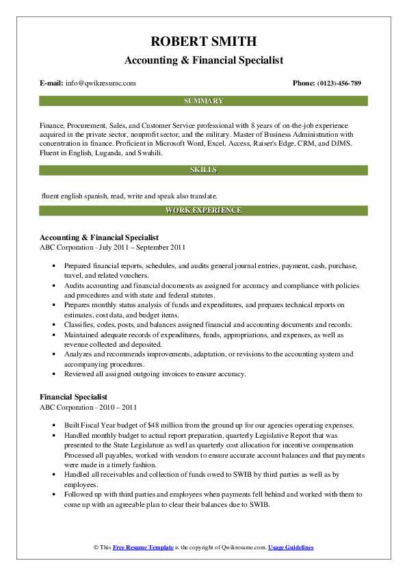 Accounting & Financial Specialist Resume Example