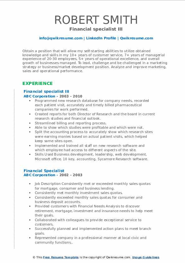 Financial specialist III Resume Template