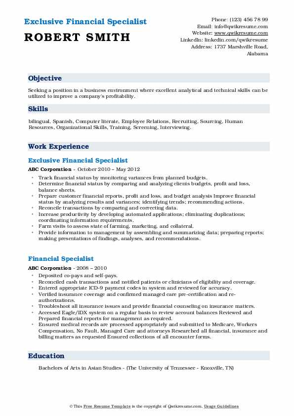 Exclusive Financial Specialist Resume Template