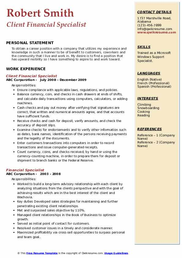 Client Financial Specialist Resume Sample
