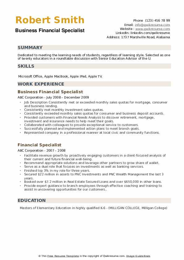 Business Financial Specialist Resume Model