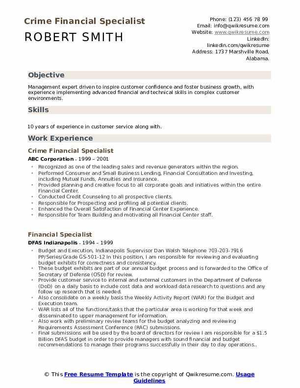 Crime Financial Specialist Resume Template