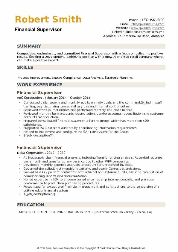 Financial Supervisor Resume example