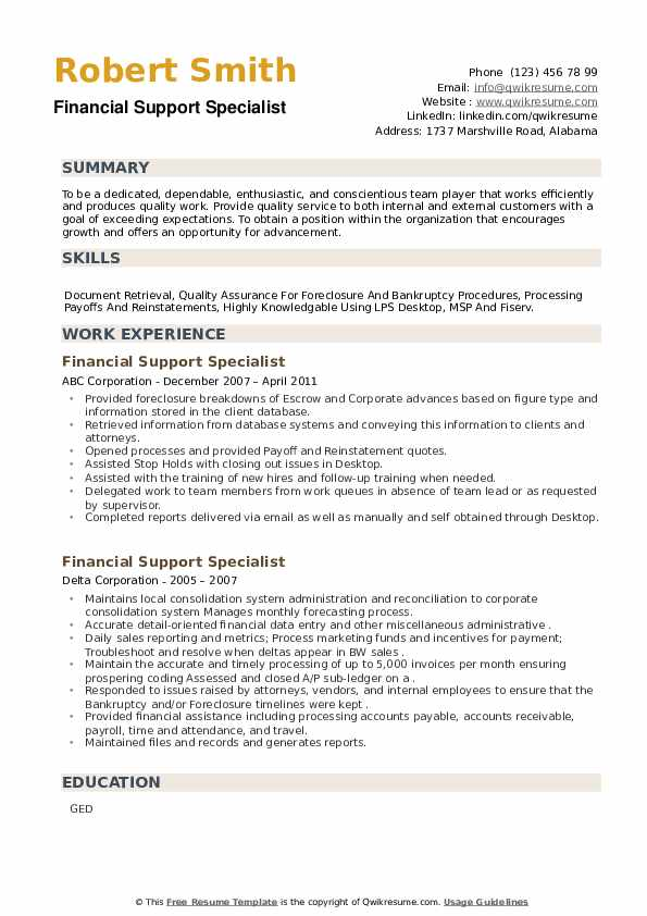 Financial Support Specialist Resume example