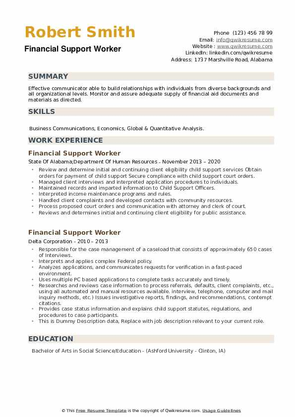 Financial Support Worker Resume example