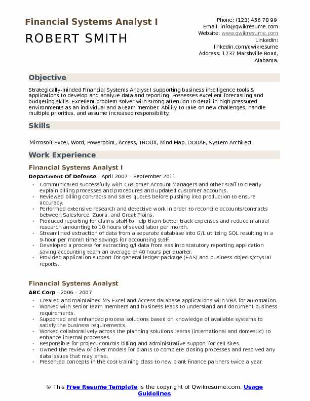 Financial Systems Analyst I Resume Format