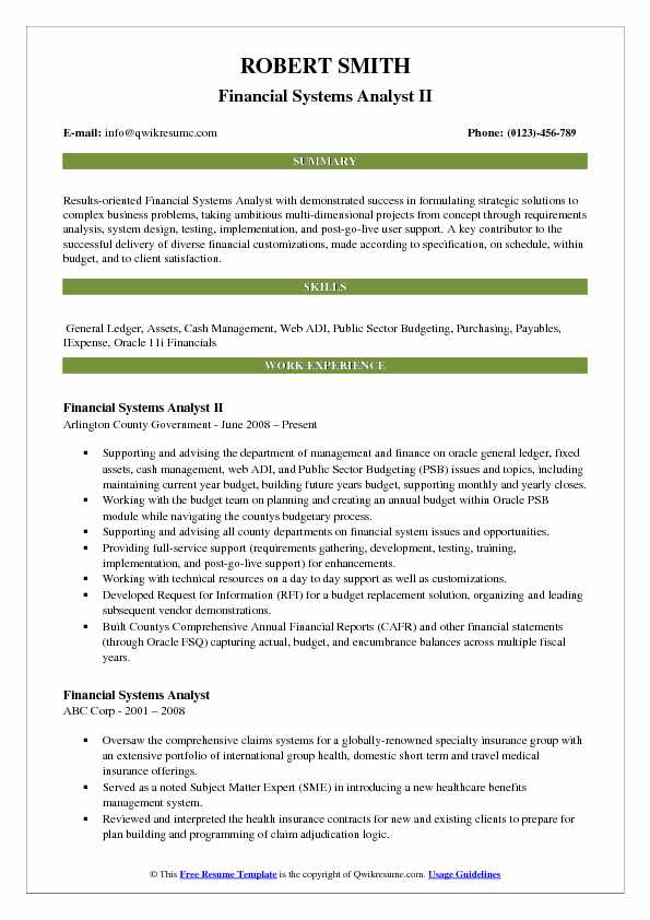Financial Systems Analyst II Resume Template