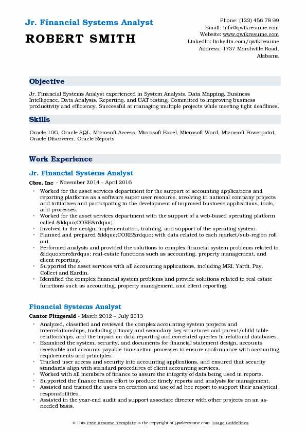 Jr. Financial Systems Analyst Resume Sample