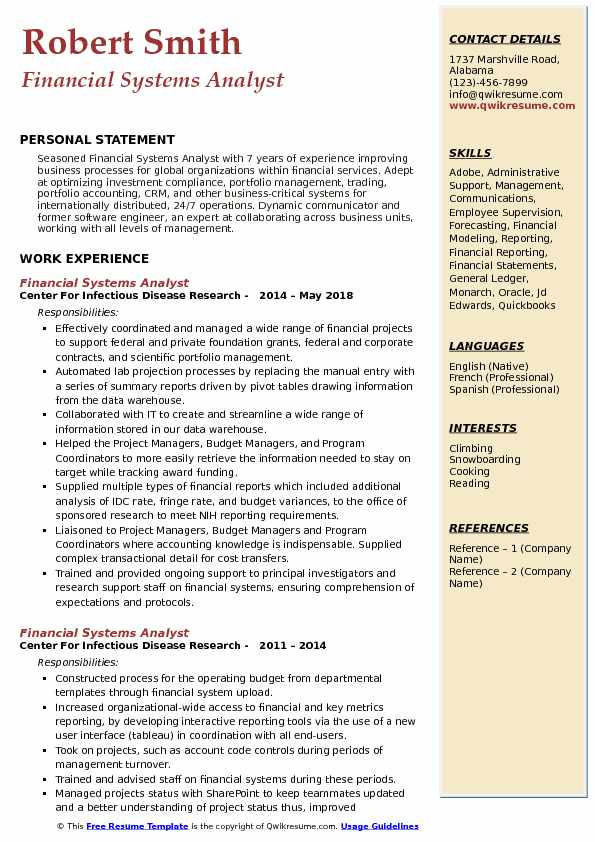 financial systems analyst resume samples