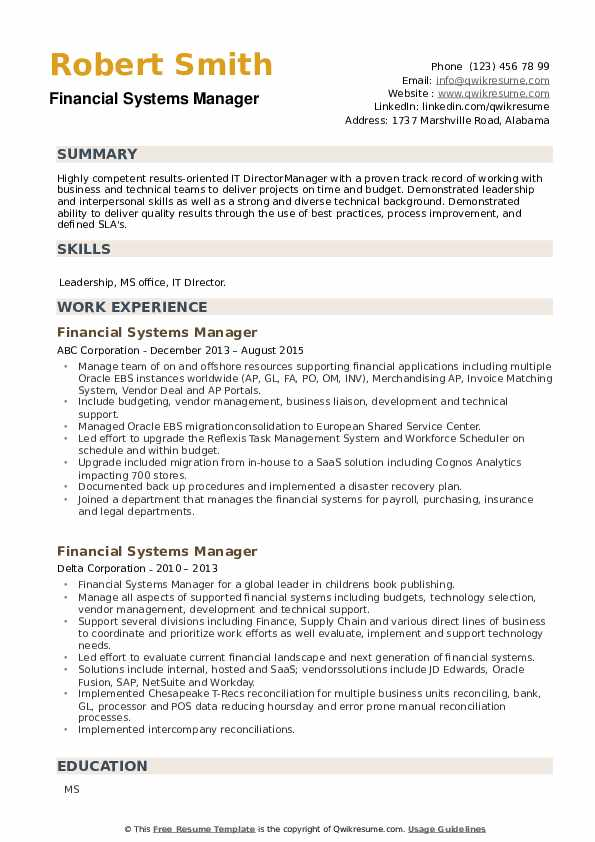 Financial Systems Manager Resume example