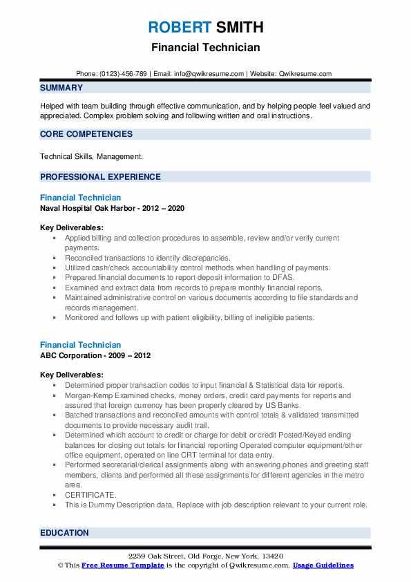 financial technician resume samples