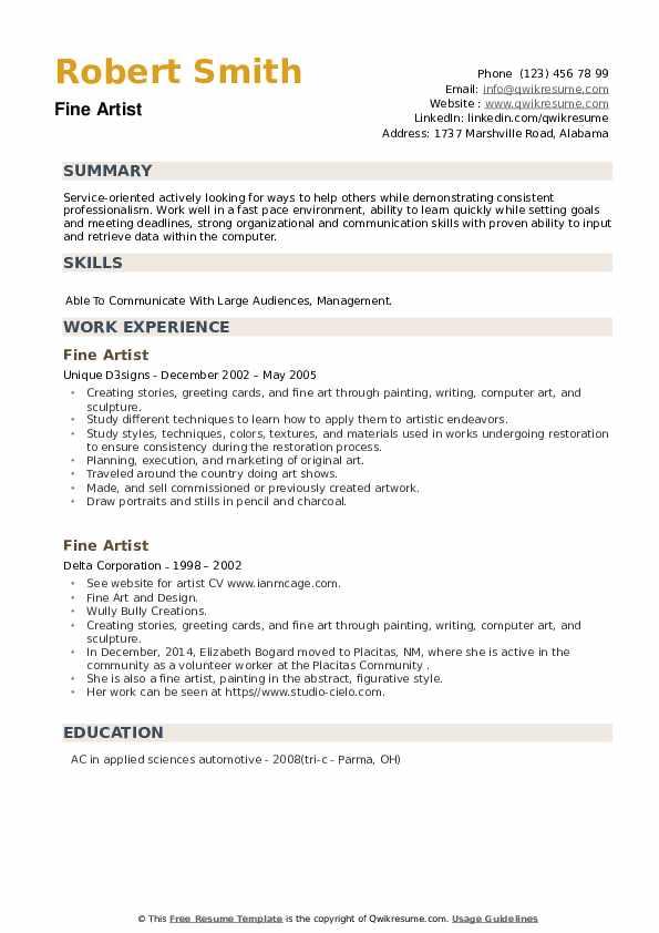 Fine Artist Resume example