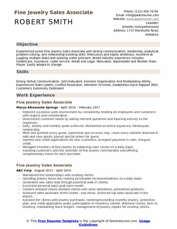 Fine Jewelry Sales Associate Resume Sample